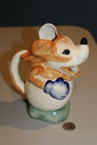 MICKEY MOUSE 1930's FIGURAL CERAMIC PITCHER MADE IN JAPAN Scarce Brown Color HTF