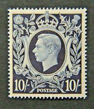 GB KGVI SG478. 1939. 10/- DARK BLUE. ARMS SERIES. HIGH VALUE. MINT.