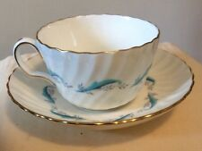 Minton Downing Turquoise & White  Cup &  Saucer set Bone China