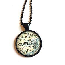 SILLERY GIFFARD CHARNY QUEBEC CANADA Map Necklace Pendant black ATLAS