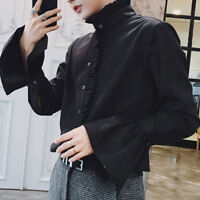 Vintage Mens Shirt Gothic Tops Victorian Ruffle Stand Collar Puff Sleeve Tops