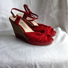 M&S PEEPTOE WEDGE HEEL SANDALS RED FABRIC AND PATENT SIZE 6.5