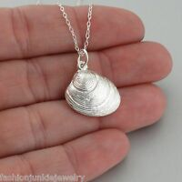 3D Muscle Clam Shell Charm Necklace - 925 Sterling Silver - NEW Beach Ocean Sea