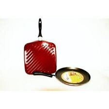 LOT DE 2 POELES VITRINOR POELE A CREPE  GRILL BORDEAUX EMAIL INDUCTION
