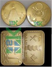 Freemason 1oz Masonic Bullion Bar & All-Seeing Eye Coin 2/sided Gold Plated