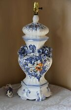 French Glazed Ceramic Lamp With Applied Roses by Fourmaintraux Freres