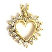 14k yellow gold .32ct SI2 H women's diamond heart charm pendant 2.5g estate