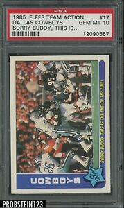 1985 Fleer Team Action Football #17 Dallas Cowboys Sorry Buddy This Is PSA 10