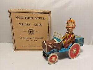 Mortimer Snerd Drives Tricky Auto, Original Box Louis Marx & Co 1939 Tin Toy