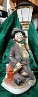 """Melody in Motion HOBO CLOWN at Lighted Lampost Whistling Willie Animated 15"""""""