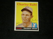 CHARLEY RABE 1958 TOPPS SIGNED AUTOGRAPHED CARD #376 REDS