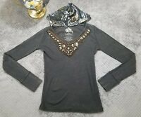 Awake Inc by OS Jean Womens Black Hooded Thermal Top Embellished Jewel Small $60