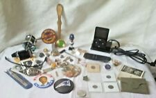 Vintage Mens Junk Drawer Lot Jewelry Political Pins IPod watches Fish-Reel Coins