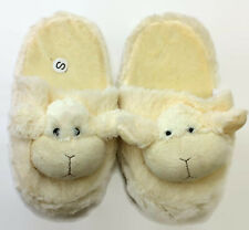 Womens Sheep Ivory Slip On Animal Indoor House Slippers Size 5-6