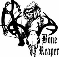 Crossbow Grim Reaper Hunter Bow Deer Skull Car Truck Window Vinyl Decal Sticker