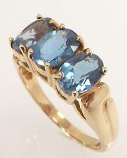 10K YELLOW GOLD GENUINE THREE OVAL BLUE TOPAZ BAND RING SIZE 7 - 3.3gr