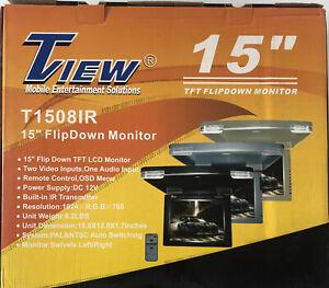 "Tview T1508IR-BK 15"" Wide Screen Led Flip Down Monitor [black]"
