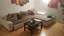 Couch L-Form, grau weiß Leder Stoff