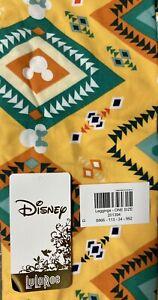 NWT LuLaRoe Disney Leggings OS Mickey Minnie Mouse Aztec Yellow 201394