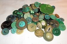 Vtg Buttons Sewing Crafts Art Projects Green Lot 70 Mixed Sizes