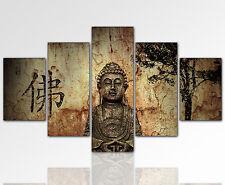 170x80cm Wandbild Buddha Feng Shui 5 teilig riesig goldbraun XXL Designbild