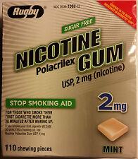 Rugby Nicotine Polacrilex Gum 2mg Sugar Free Mint 110 Pieces