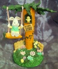 SS4U Two Bunnies in Carrot Shaped Swing Easter Decoration Carrot Swing Set New