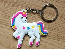 UNICORN KEYRING bag CHAIN Charm WHITE SILICONE Pink/Blue Stars/Wings CHILDRENS