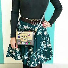 LC Lauren Conrad Green Rose Floral Print A line Mini Skirt Womens size 2 NEW