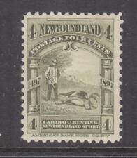NEWFOUNDLAND, 1897 Caribou Hunting, 4c. Olive Green, heavy hinged.
