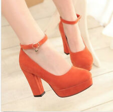 2016 New Womens Court Shoes Round Toe Chunky Block High Heels Mary Jane Party