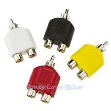 4x RCA Y Splitter AV Audio Video Plug Converter 1 Male to 2 Female Adapter US