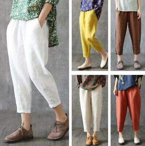 Womens 100% Cotton Capri Pants Casual Loose Comfort Baggy Straight Trousers