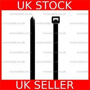 Long 4.8mm x 370mm Black Plastic Nylon Cable Tie - 100490