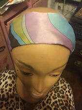 "Vintage Lilac Green Blue Pucci-esque SILK 2.7"" WIDE Headband $35"