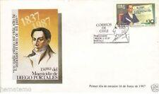 Chile 1987 FDC 150 años Magnicidio de Diego Portales