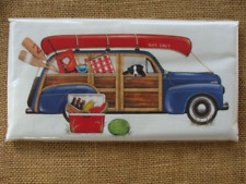 Flour Sack Towel Designed by Mary Lake Thompson - Retro Station Wagon, Canoe Dog