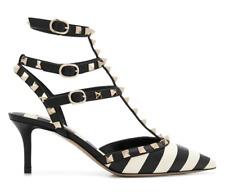 Valentino Rockstud Black White Stripe Stud Classic Sandal Kitten Heel Pump 37