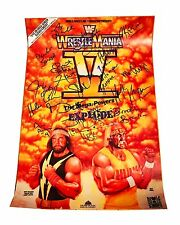WWE HULK HOGAN WRESTLEMANIA V HAND SIGNED 24X16 POSTER WITH HOGAN HOLOGRAM & COA