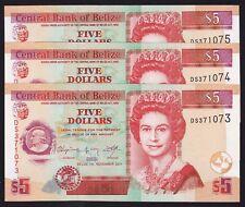 Belize $5 2011 Banknotes p-67e Consecutive Trio