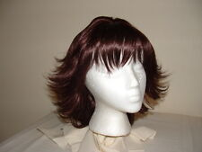 Brown Mid-Length Wig Layered Flip Style with Full Bangs