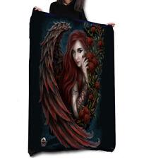 DAMON IN ROSA - Fleece Blanket / Throw 147cm x 147cm / Gothic, Angels, Tribal