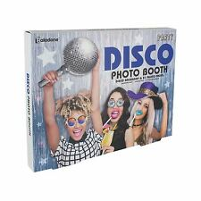 Paladone Disco Photo Booth Picture & 21 Props Silver Tinsel Curtain