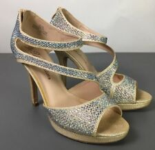 De Blossom Collection Nude Sparkle Rhinestone Formal Prom Dress Heels - Size 7