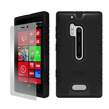 For Nokia Lumia N928 Hybrid Armor Shield Tough Case Black Free Screen Protector
