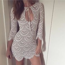AUTHENTIC For Love and & Lemons Rosalita White Lace Dress The Dolls House L 12