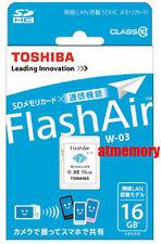 Genuine Toshiba 16GB 16G FlashAir SDHC SD Card Wifi Class 10 Wireless Retail W03