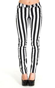 Streifen Hose Stretch Jeans Schwarz Weiß Gestreift Punk Rock Gr. 42