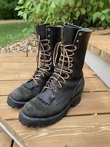 "Nicks Boots Hot Shot black 10"" 8.5D vibram franks whites"