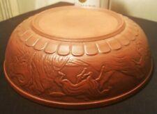 8 HORSES terracotta red clay art pottery bowl roman greek vtg italian sigilla